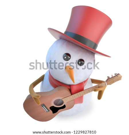 3d render of a funny cartoon snowman wearing a top hat and playing an acoustic guitar