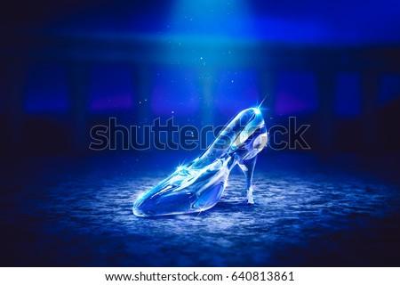 3D Render of a glass slipper on the castle floor