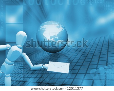 3D render of a globe on an abstract background with someone holding mail