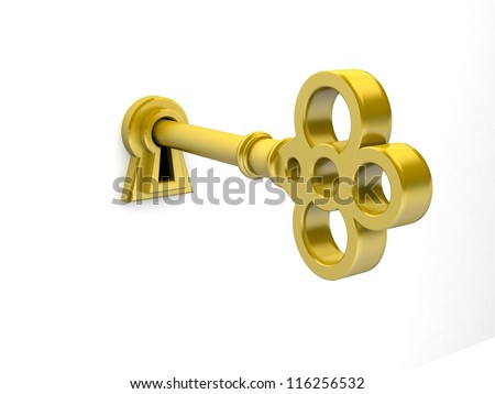 3D render of a golden key on keyhole. - stock photo