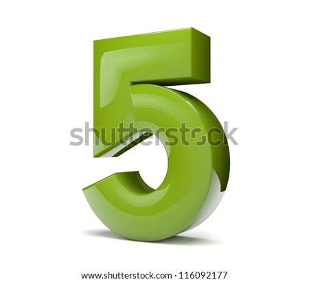 3d render of a green number five