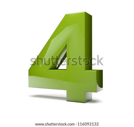 3d render of a green number four
