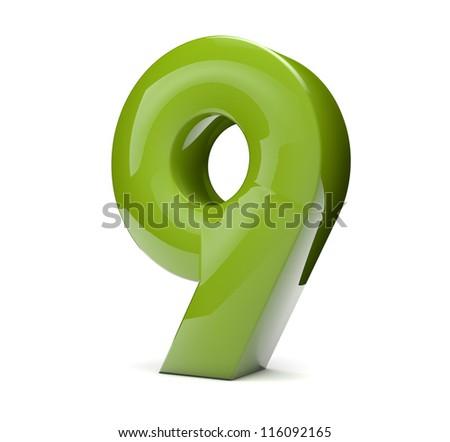 3d render of a green number nine