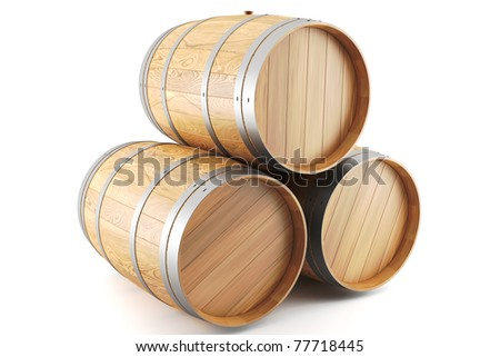 3d render of a group of wine barrels