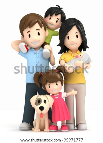 3d render of a happy family and pet - stock photo
