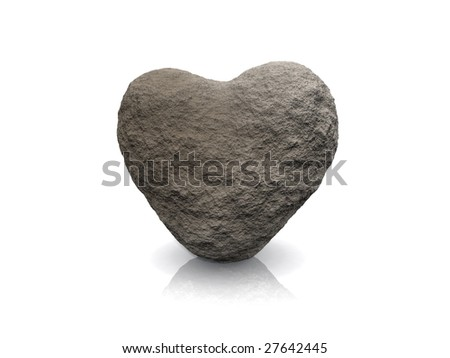 3d render of a heart made of stone