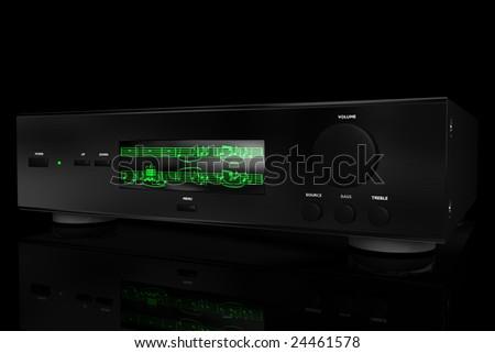 3D render of a Hi-Fi amplifier on a black background