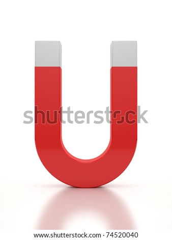 3d render of a horseshoe magnet over a white background