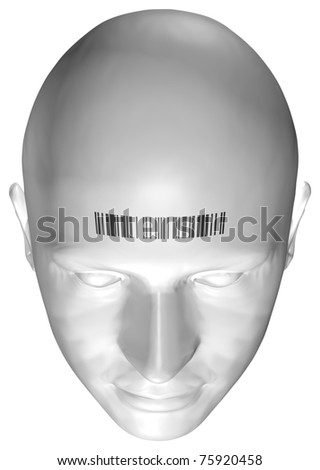3D Render of a Human Head With Barcode Stamp (with Clipping Path)