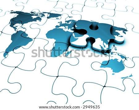3D render of a jigsaw of a world map with the final piece just added