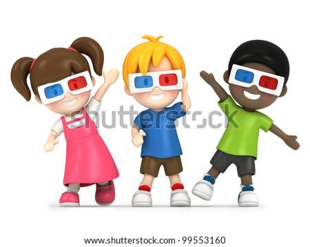 3d render of a kids wearing 3d glass