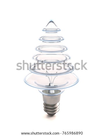 3d render of a light bulb in the form of a Christmas tree on a white background #765986890