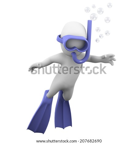 Stock Photo 3d render of a little person diving with a snorkel and flippers