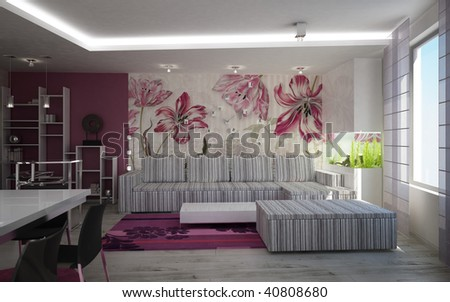 3D render of a living room interior design