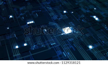 3D Render of a macro view of a Futuristic Electronic Circuit Board with Microchips and Processors. Technology Background concept.