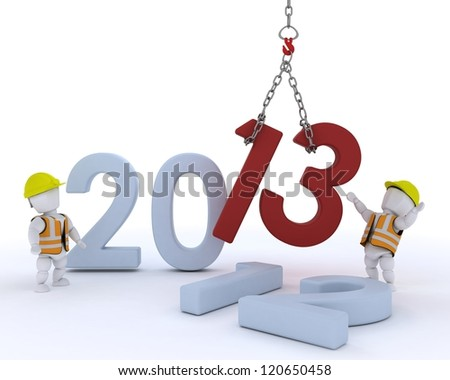 3D render of a man  bringing in the new year