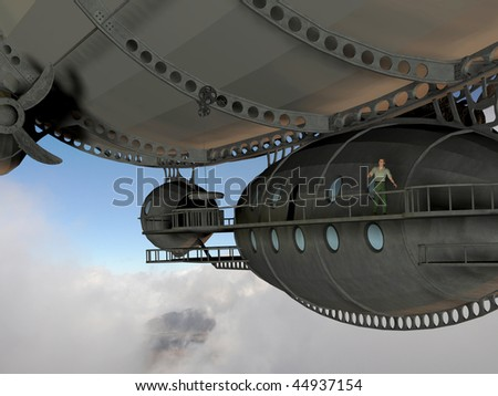 3d render of a man on walkway of an airship over a photo of an undercast that I took.