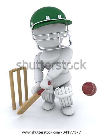3d render of a man playing cricket