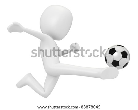 3D Render of a Man playing Soccer