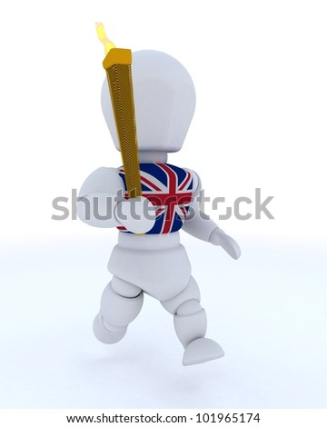 3D render of a man running with olympic torch