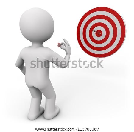 3d render of a man shooting darts