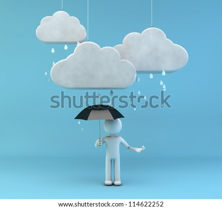 3d render of a man with an umbrella under the rain