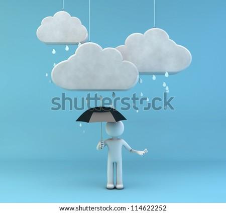 3d render of a man with an umbrella under the rain