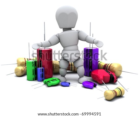 3D Render of a Man With Capacitors Resistors and semi-conductors