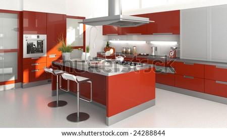 3D render of a moder red kitchen