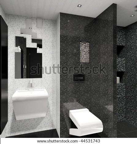 3d Render Of A Modern Black And White Bathroom Interior Design Stock