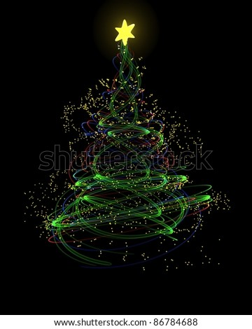 3d Render Of A Neon Christmas Tree Concept Stock Photo 86784688 ...