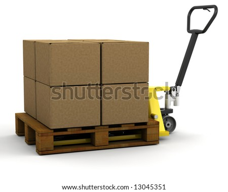 3D render of a pallet truck stacked with boxes