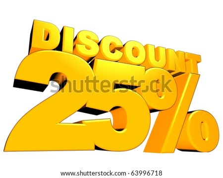 3D render of a 25 percent discount sign isolated on a white background