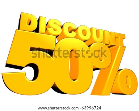 3D render of a 50 percent discount sign isolated on a white background