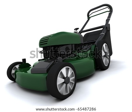 3D render of a petrol powered lawn mower