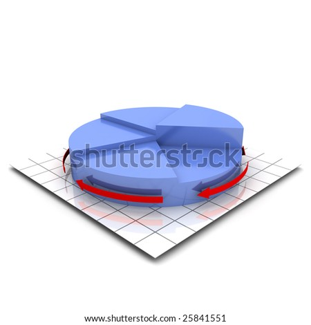3D render of a pie chart with several segment of different sizes
