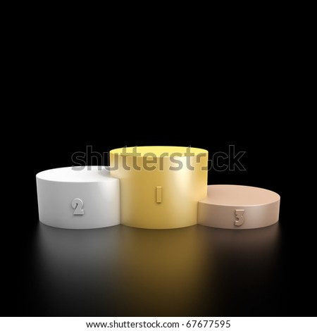3d render of a podium consisting three cylinders with different heights made from bronze, silver and gold