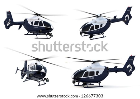3D render of a police helicopter against a white background.