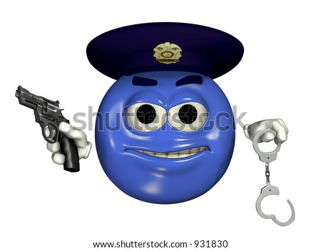 3D render of a police officer emoticon with handcuffs and gun.