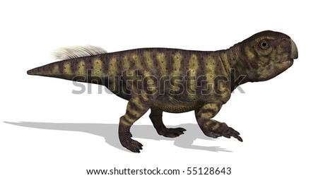 "3D render of a psittacosaurus (meaning ""parrot Lizard"") who lived in the Early Cretaceous Period. This dinosaur was about four feet tall."
