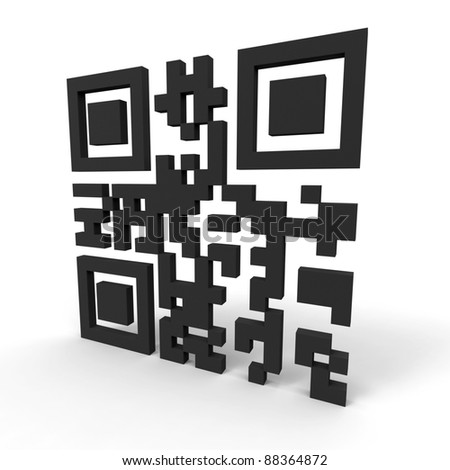 """3d render of a QR-code standing on a white background. Contains the words """"hello world""""."""