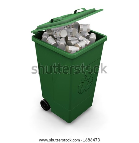 3D render of a recycling wheelie bin full of tin cans