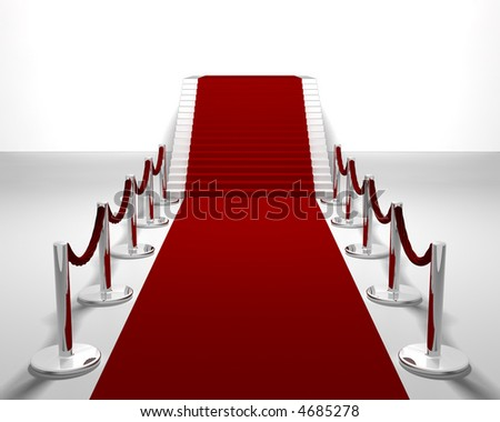 3D render of a red carpet leading up stairs
