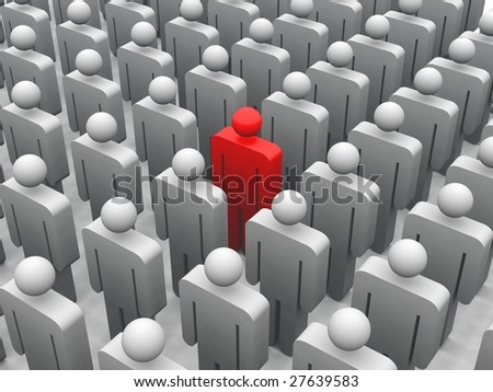 3d render of a red figure standing in a crowd