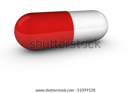 3D render of a red pill on white background.