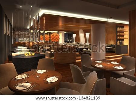 3d Render Of A Restaurant Interior Foto Stock 134821139