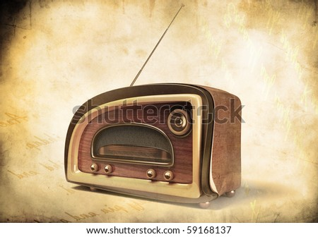 3D render of a retro styled radio on grunge  background