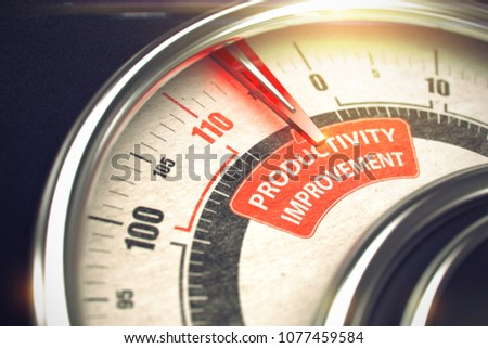 3D Render of a Rev Counter with Red Needle Pointing the Caption Productivity Improvement. Business or Marketing Concept. 3D Render.