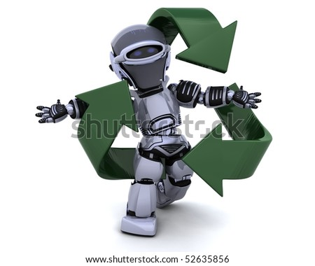 3D render of a robot and recycle sign