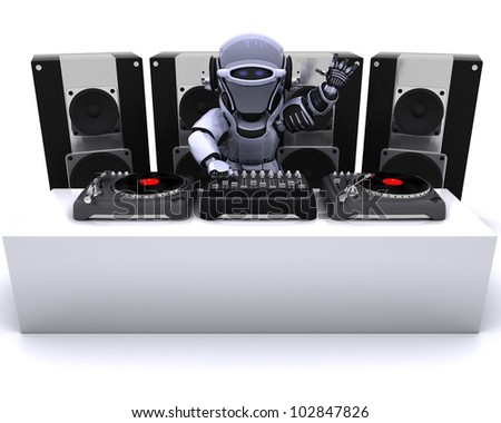 3D render of a Robot  DJ mixing records on turntables